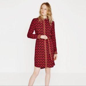 Zara Geometric Print Contrast Shirt Dress